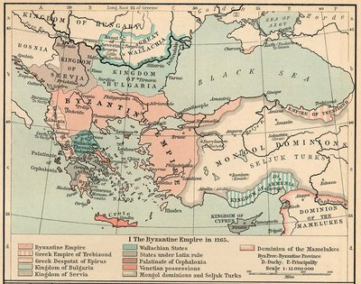 The Empire of Trebizond and other states carved from the Byzantine Empire, as they were in 1265 (William R. Shepherd, Historical Atlas, 1911)