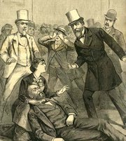 President Garfield just after he was shot, as depicted in engraving from 1881 newspaper.