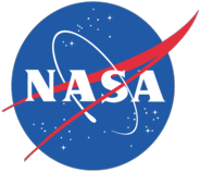 "NASA insignia, showing a wingshape and an orbiting spacecraft on a starfield. 1958–1975, 1992–present. Also known as the ""meatball""."