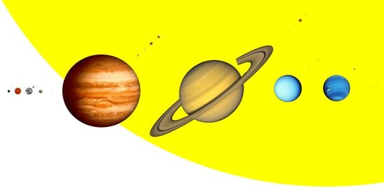 The planets of the Solar System, accompanied by their main satellites, profiled against the limb of the Sun