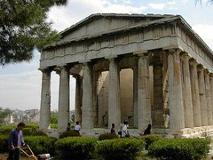 The Temple of Hephaestus in Athens, showing columns with Doric capitals