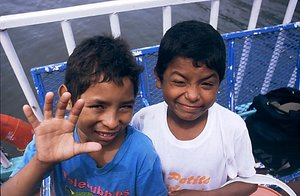 Indigenous Nicaraguan children on a ferry to Ometepe Island