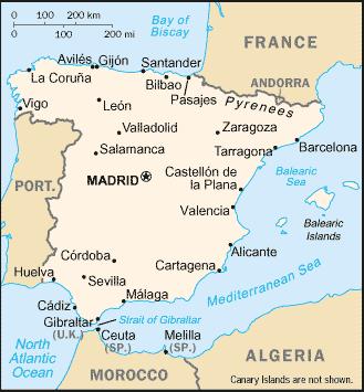 Kids Map Of Spain.Geography Of Spain Academic Kids