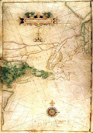 "Block's map of his 1614 voyage, with the first appearance of the term ""New Netherland"""